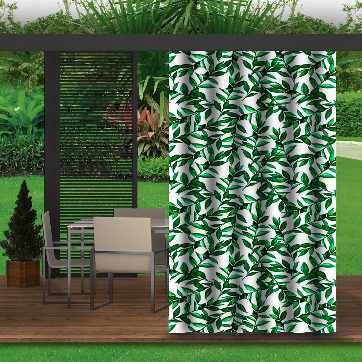 Luxusní bílý závěs do zahradního altánku s motivem listů
