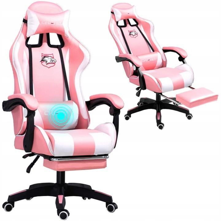 Pohodlné herní křeslo s masážním polštářkem růžovo bílé barvy