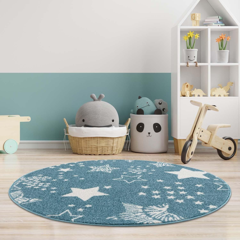 Modrý kulatý koberec do dětského pokoje STARS