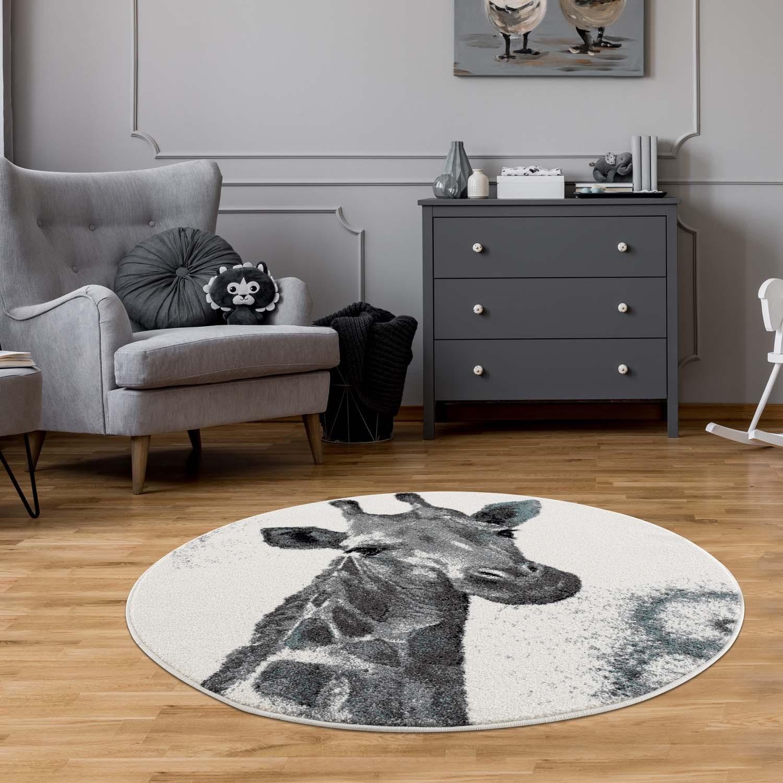 Šedě krémový kulatý koberec do dětského pokoje žirafa