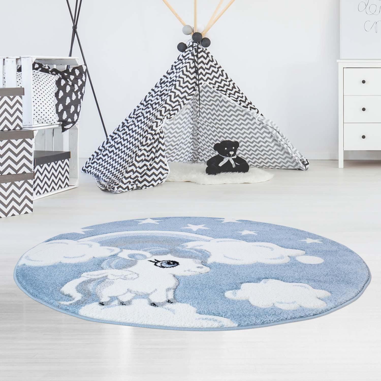 Pohádkový modrý dětský kulatý koberec jednorožec