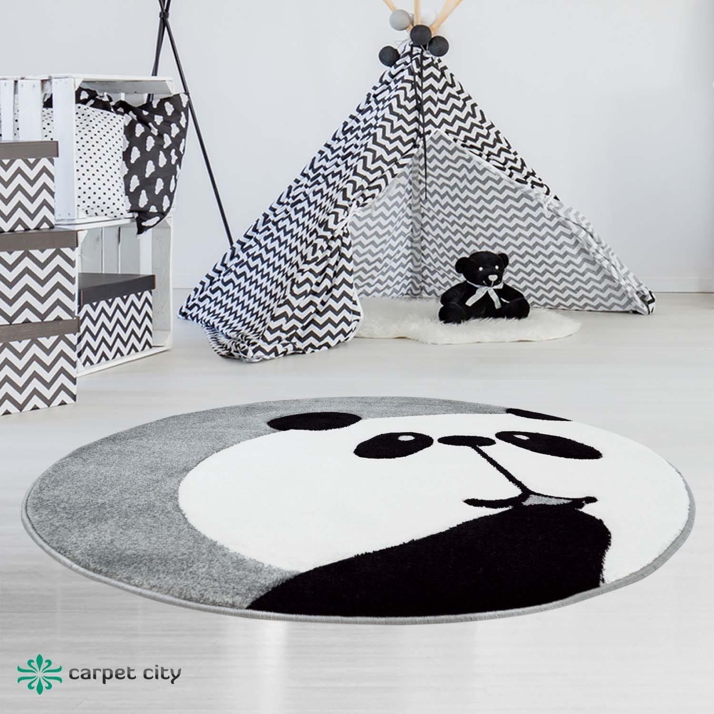 Originální šedý kulatý dětský koberec panda
