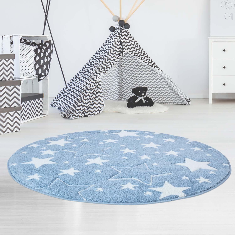 Originální modrý kulatý koberec STARS
