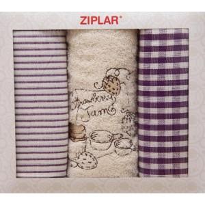 Set kuchyňských károvaných utěrek s ručníkem krémové barvy