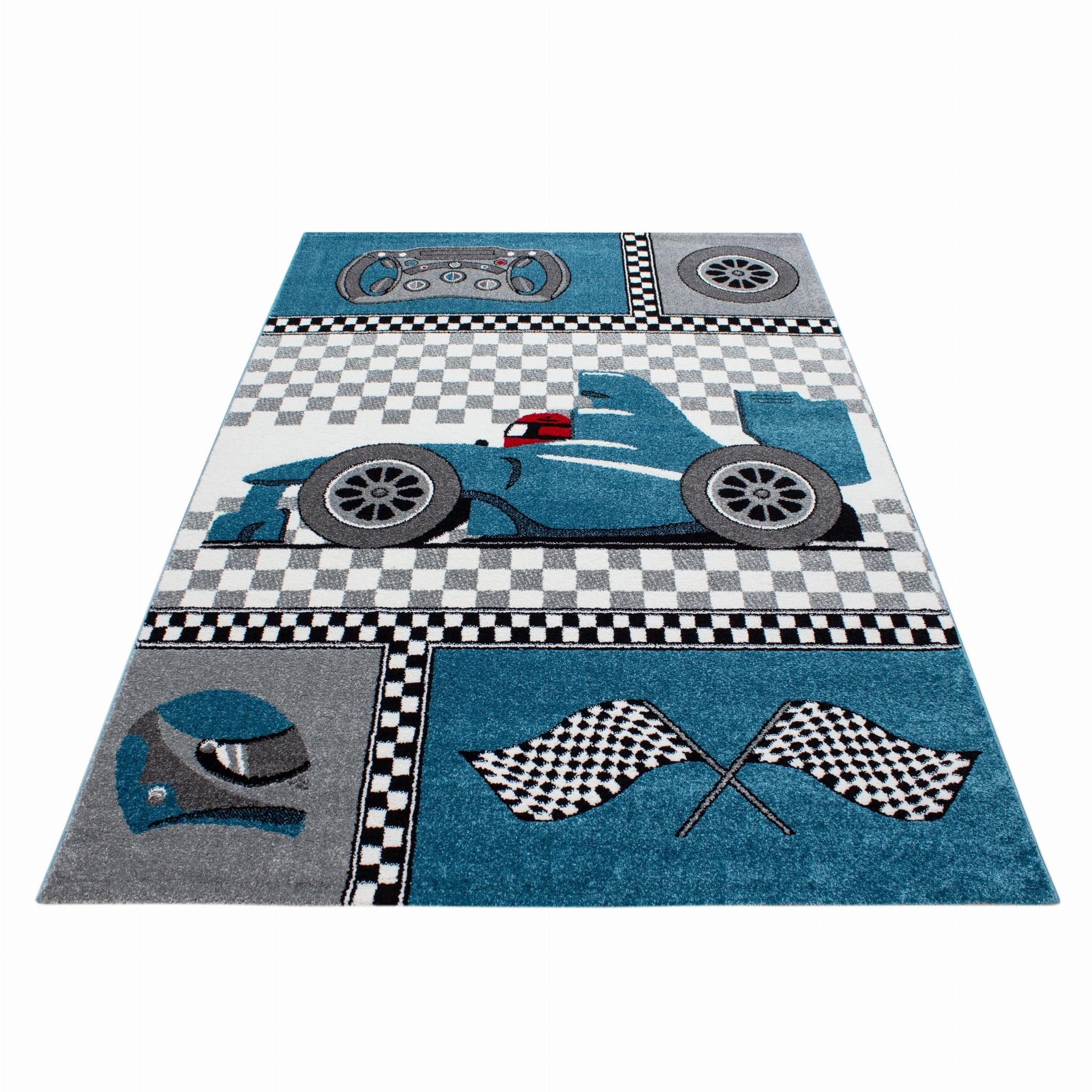 Modrý koberec pro chlapce do dětského pokoje formule