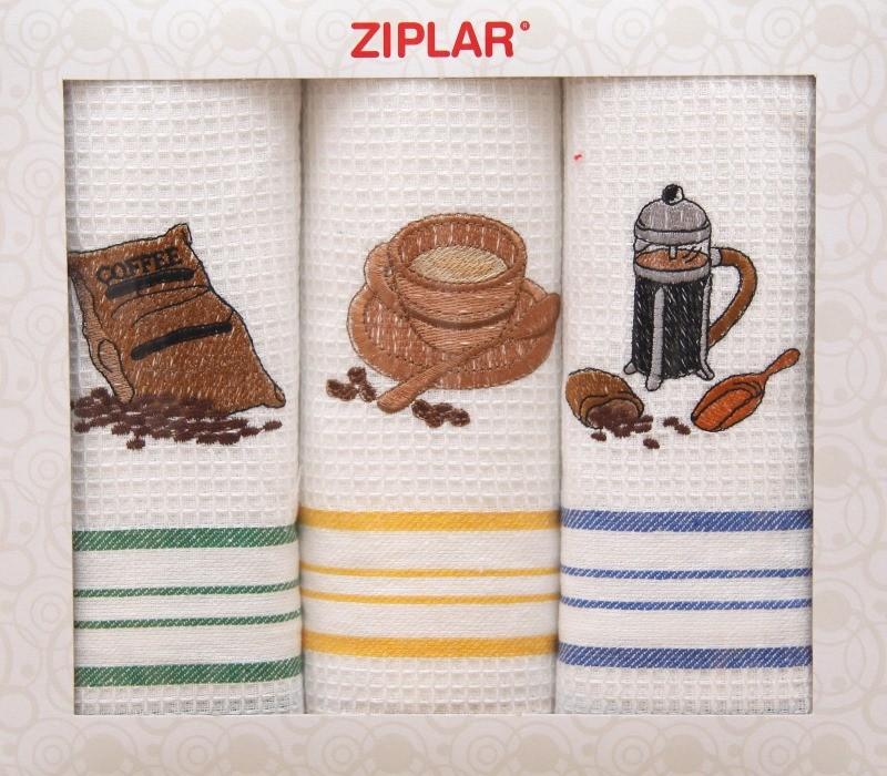 Set kuchyňských utěrek bílé barvy s motivem kávového šálku