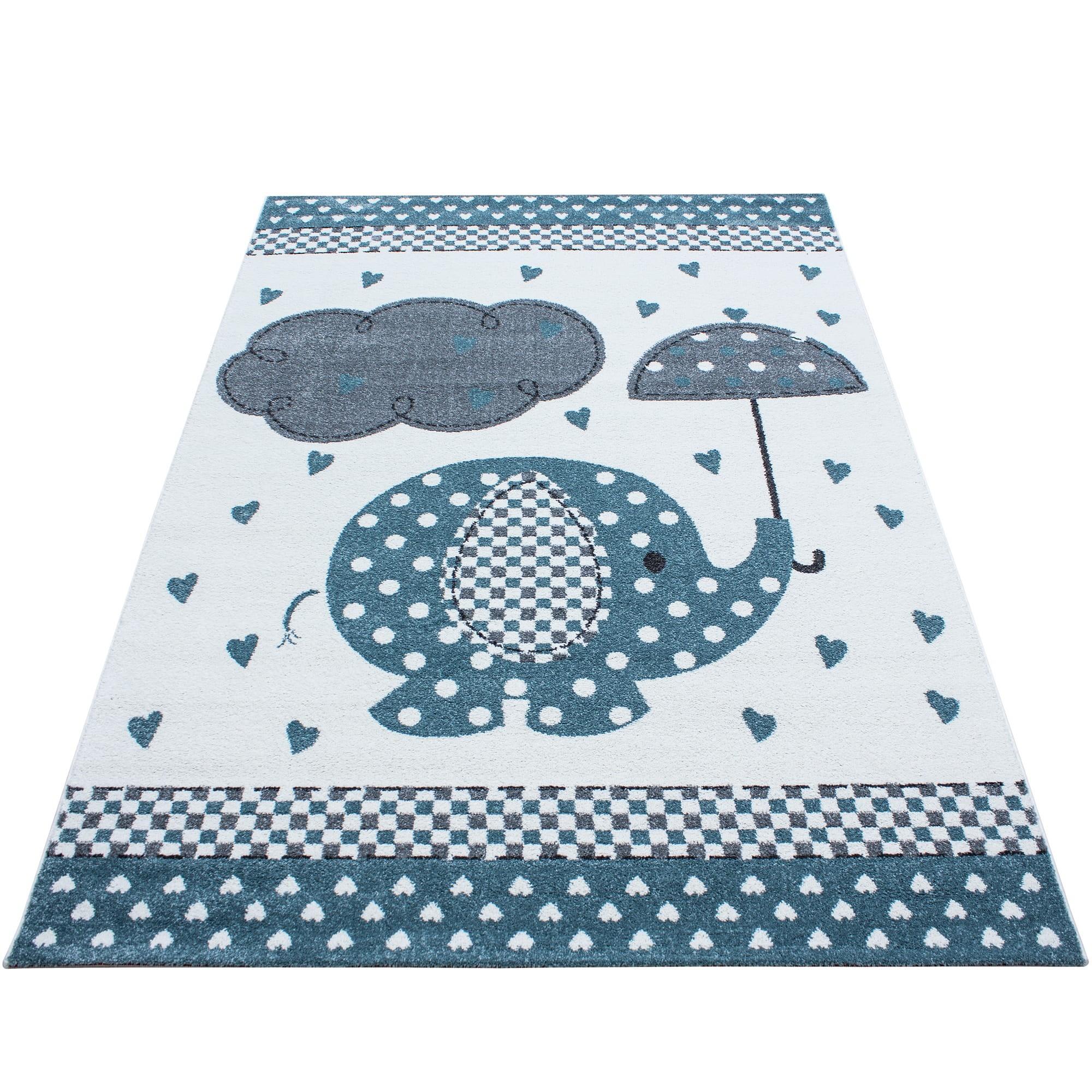 Moderní modrý koberec do dětského pokoje sloník štěstí