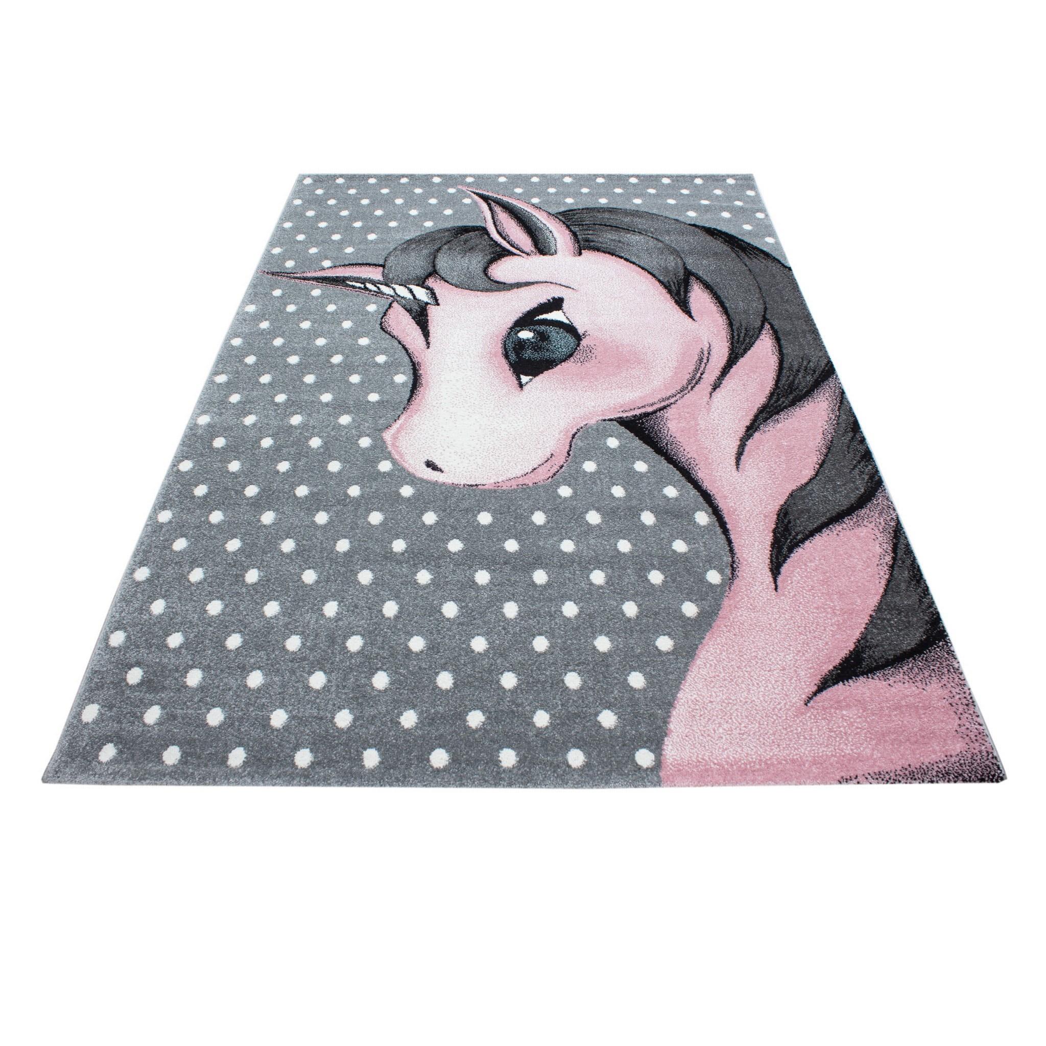 Pohádkový šedý koberec pro holčičku jednorožec