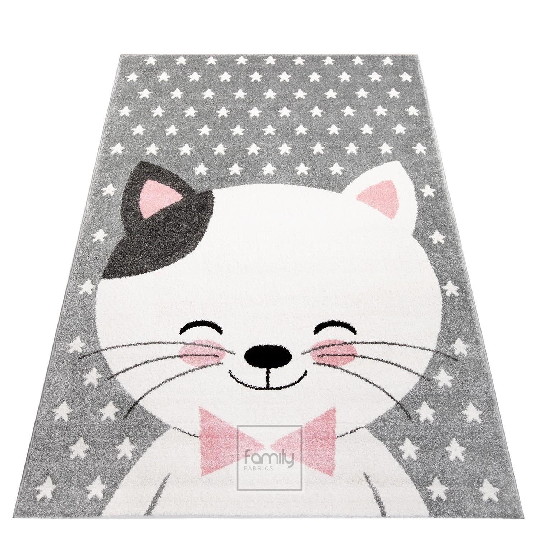 Dětský šedý koberec pro holčičku kočička