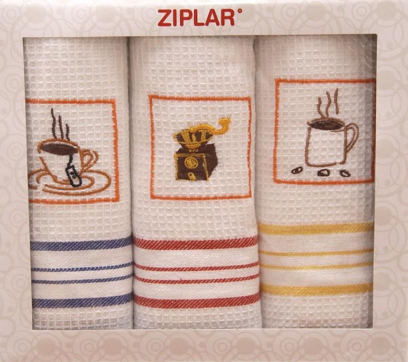 Bílé kuchyňské utěrky s obrázkem šálku