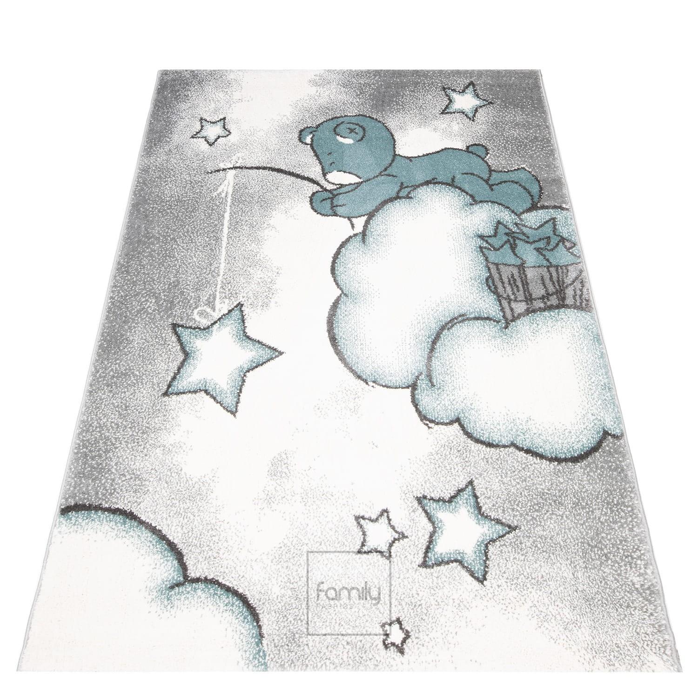Roztomilý šedě modrý dětský koberec na hraní pro chlapce