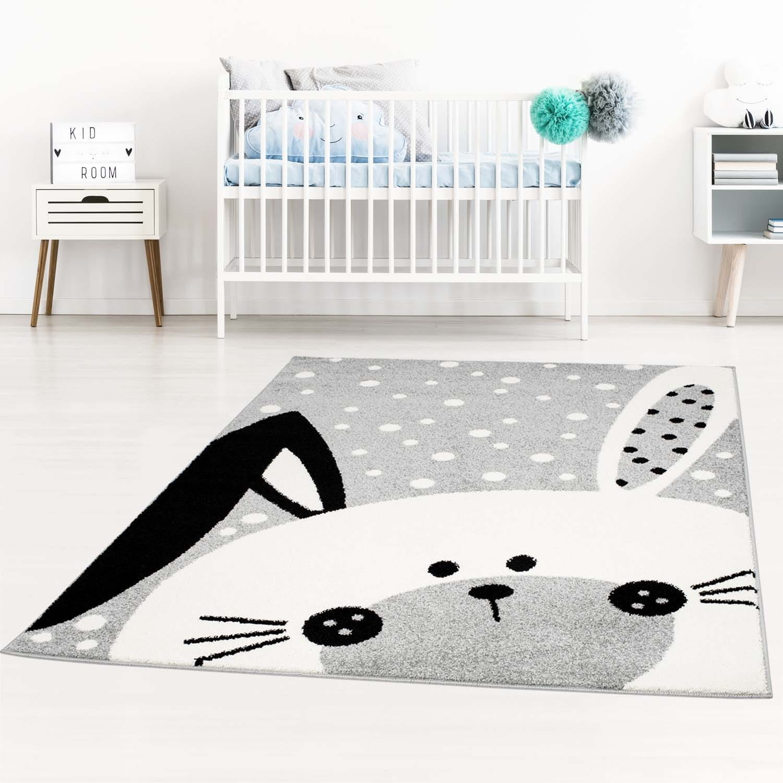 Dětský šedý koberec na hraní zajíček