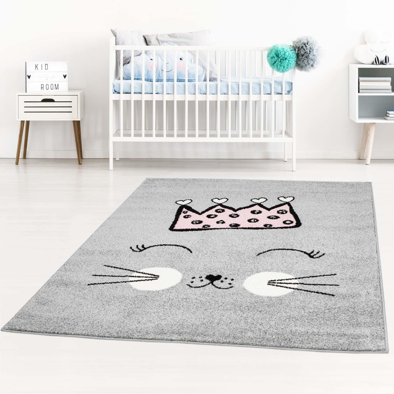Šedý koberec pro děti roztomilá kočička