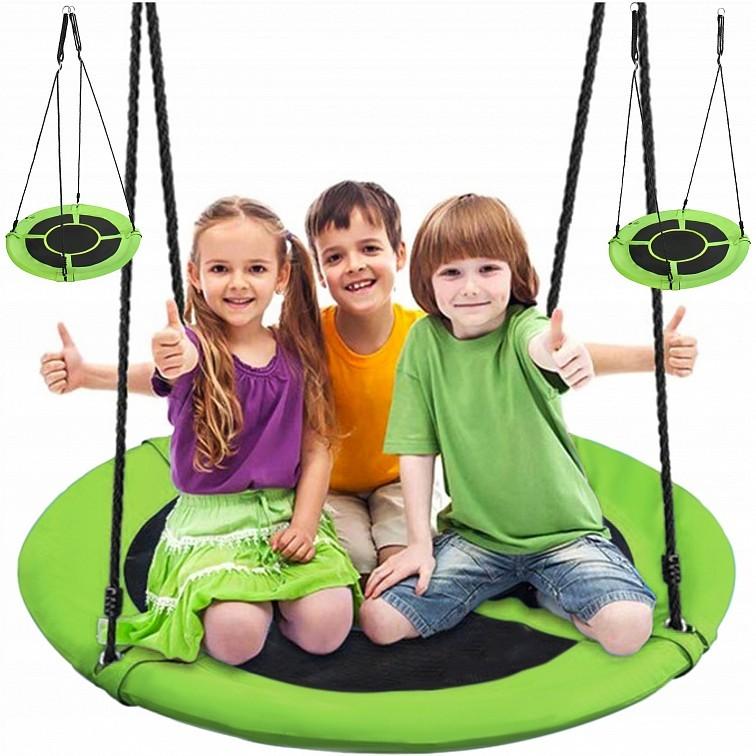 Závěsný houpací kruh pro děti v zelené barvě