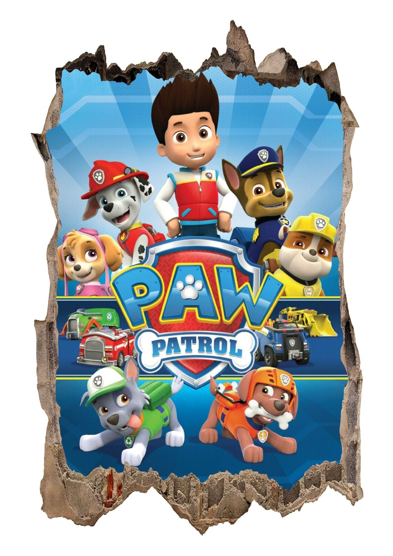 Nálepka na zeď Paw Patrol 3D 47x73cm
