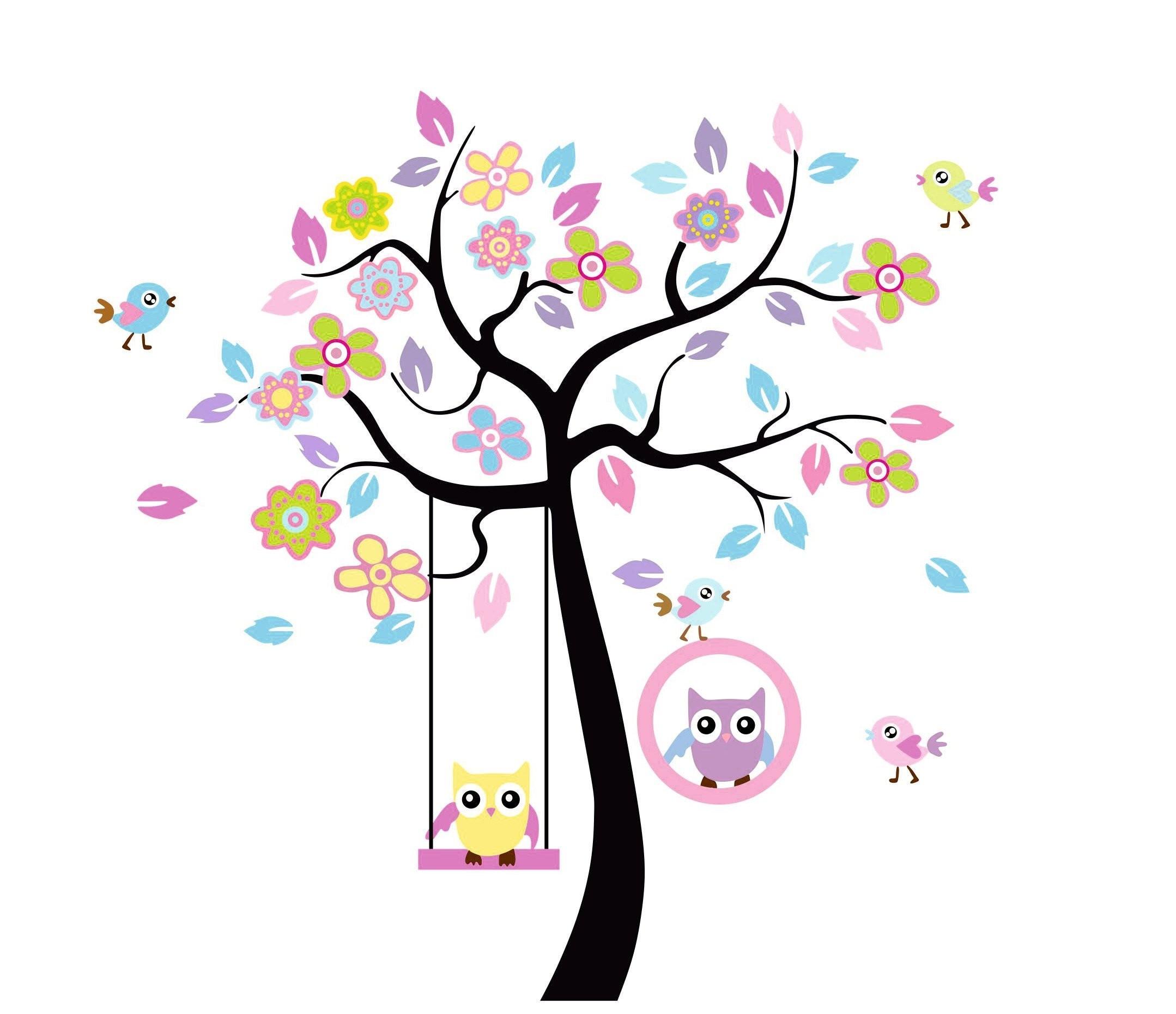 Nálepky na stěnu sovičky na stromě 60x65cm
