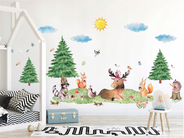 Krásná nálepka na zeď XXL lesní zvířátka
