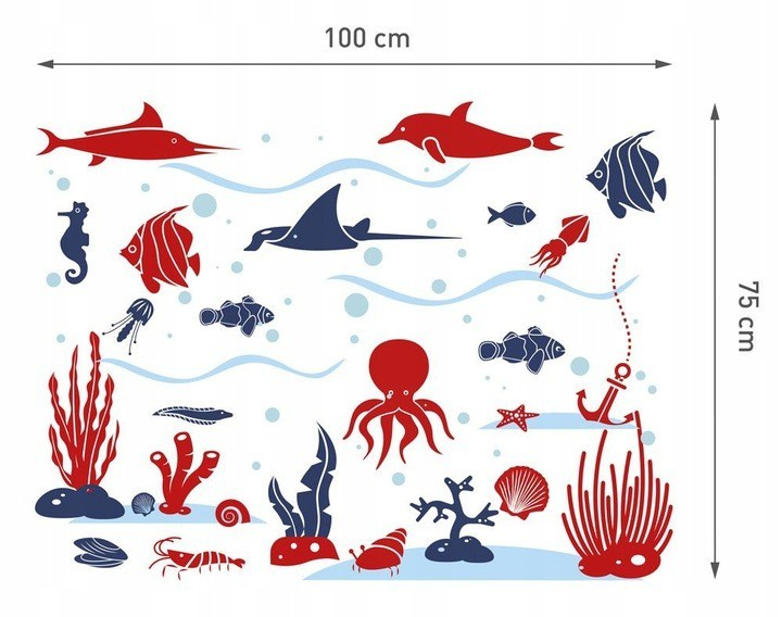 Nálepky na stěnu podmořský svět 100 x 75 cm