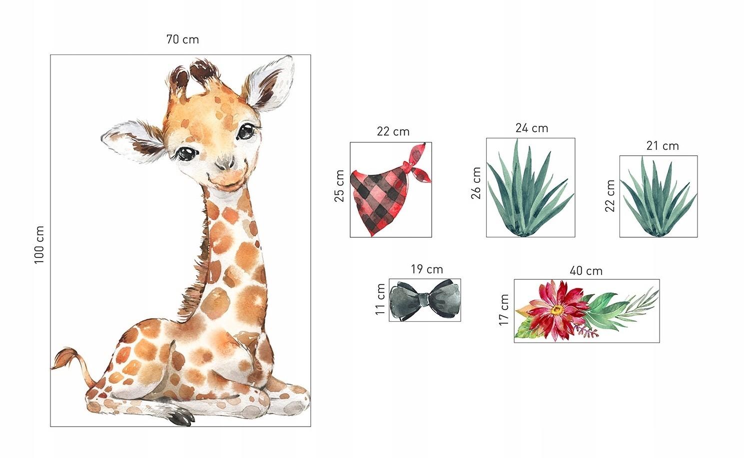 Dekorační nálepka na zeď roztomilá žirafa 100 x 70 cm