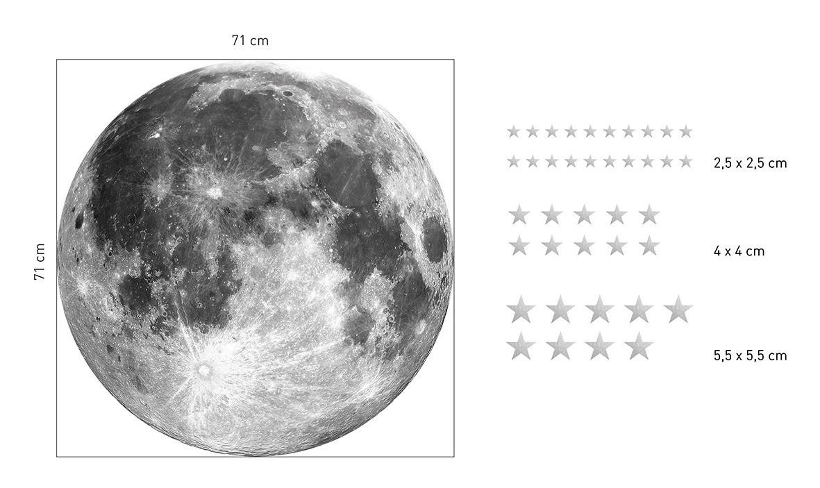 Dekorační nálepka na zeď měsíc s hvězdami 71 cm