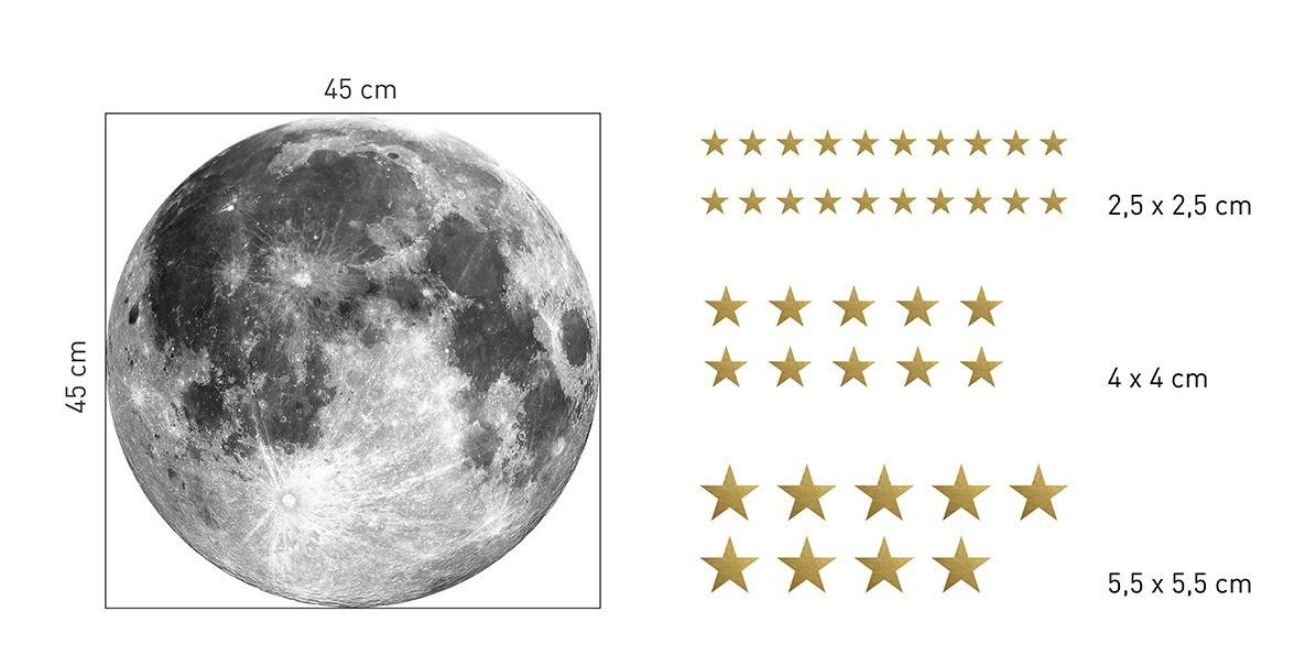 Originální nálepka na zeď měsíc a zlaté hvězdy 45 cm