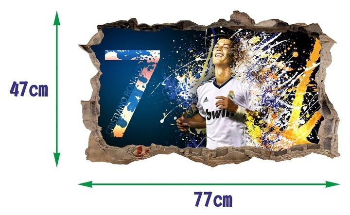 Dekorační 3D nálepka na zeď Cristiano Ronaldo 47 x 77 cm