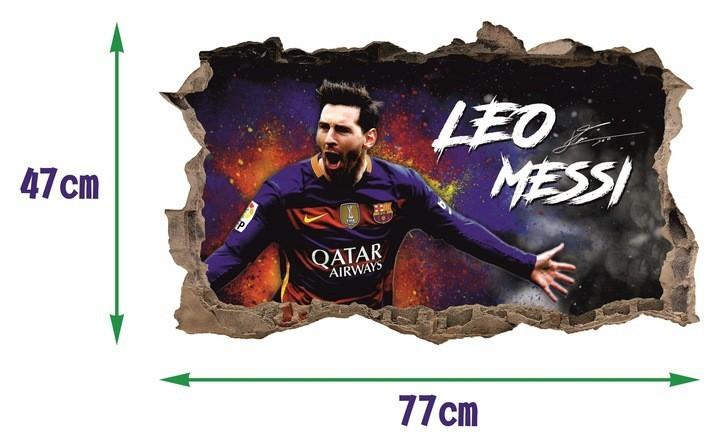 Nálepka na zeď 3D Lionel Messi 47 x 77 cm