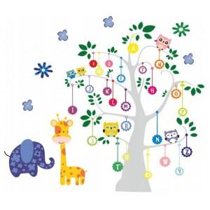 Úžasná nálepka na zeď pro děti abeceda na stromě