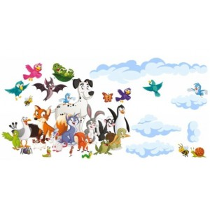 Veselá dětská nálepka na zeď zvířátka 60 x 120 cm