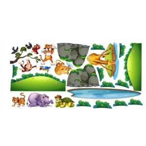 Krásná barevná nálepka do dětského pokoje safari 80 x 160 cm