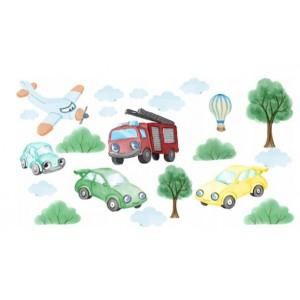 Originální dětské nálepky na stěnu dopravní auta 100 x 200 cm
