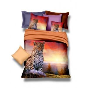 Souprava ložního povlečení se zapadajícím sluncem a leopardem