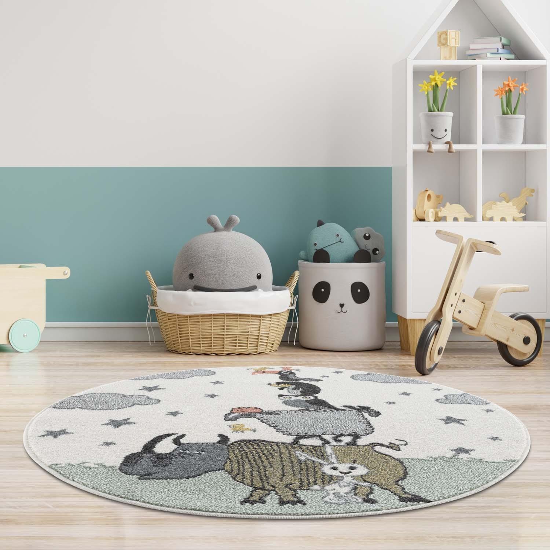 Krásný dětský kulatý koberec se zvířátky