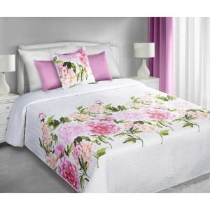 Oboustranné přehozy bílé barvy na manželskou postel s motivem růžových květů