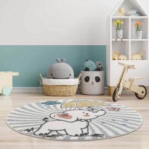 Moderní krémový dětský kulatý koberec sloník štěstí
