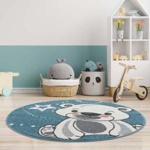 Modrý dětský kulatý koberec roztomilý medvídek