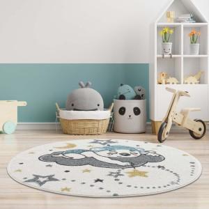 Dokonalý dětský kulatý koberec spící medvídek