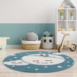 Kouzelný modrý koberec do dětského pokoje spící měsíc