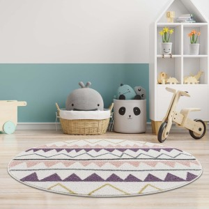 Kvalitní dětský krémový koberec s barevným zig zag vzorem
