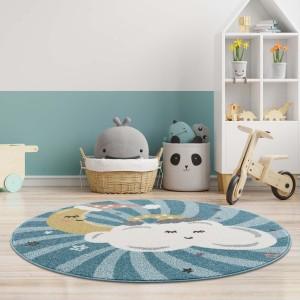 Modrý kulatý koberec do dětského pokoje spící obloha