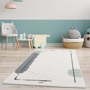 Krémový koberec do dětského pokoje se zelenou kaňky