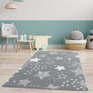 Originální šedý dětský koberec STARS