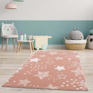 Růžový koberec do dětského pokoje STARS