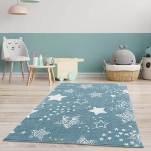 Originální modrý koberec do dětského pokoje STARS