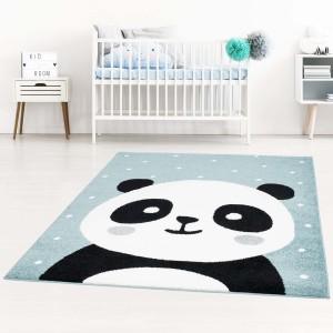 Modrý dětský koberec pro chlapce rozkošná panda