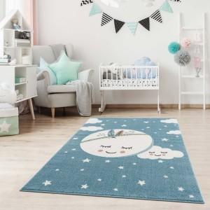 Dětský modrý koberec na hraní spící měsíc