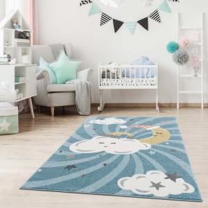 Úžasný modrý dětský koberec s motivem spící obloha