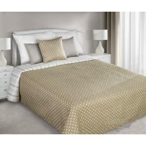 Přehozy na manželskou postel oboustranné béžové barvy s bílými malými tečkami