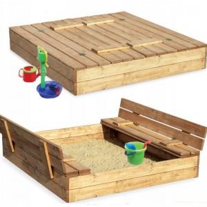 Zavíratelné pískoviště s lavičkami 120 x 120 cm