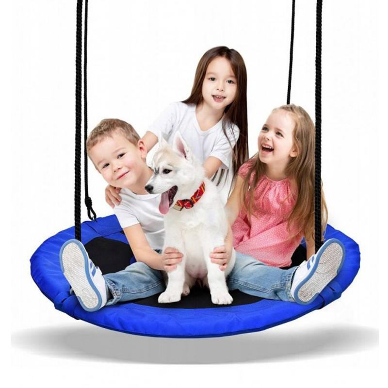 Závěsný houpací kruh pro děti v modré barvě